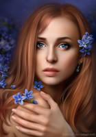 Girl in the flower garden by Ennya7
