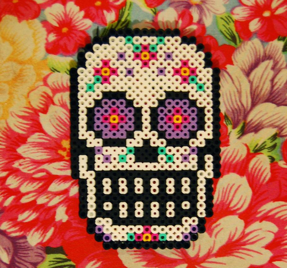 Sugar Skull Perler Coaster by cephalo786