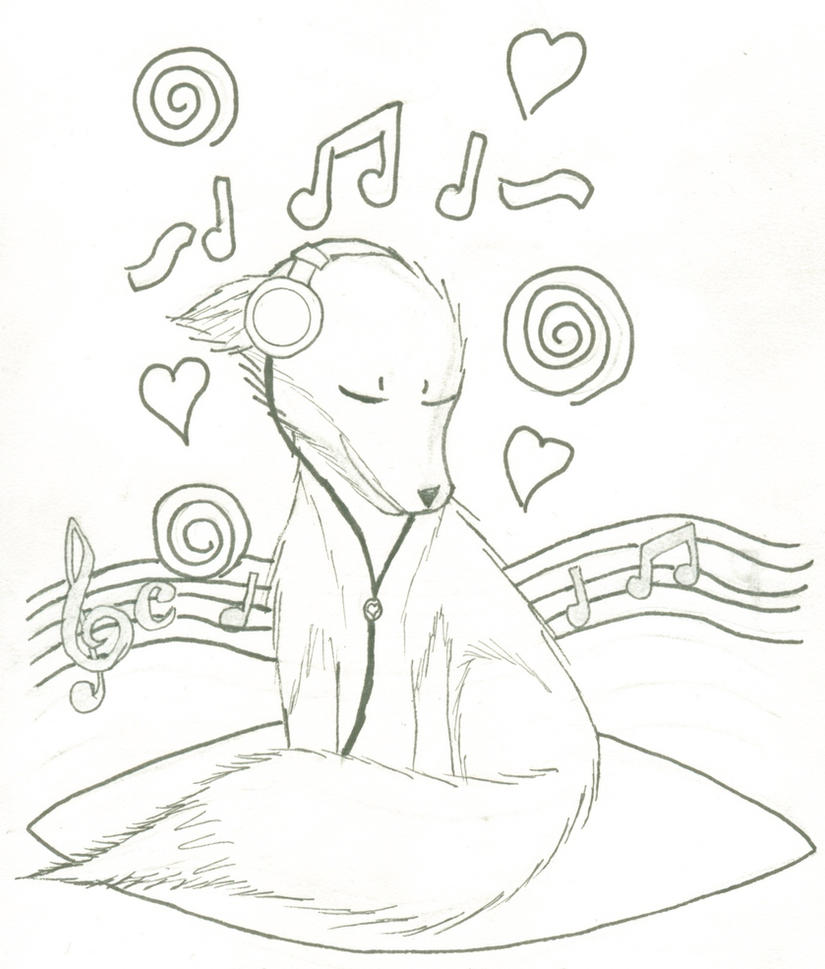 Music Fox Coloring Page By FancyNinjaCat