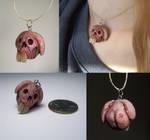 gross little bunny skull pendant