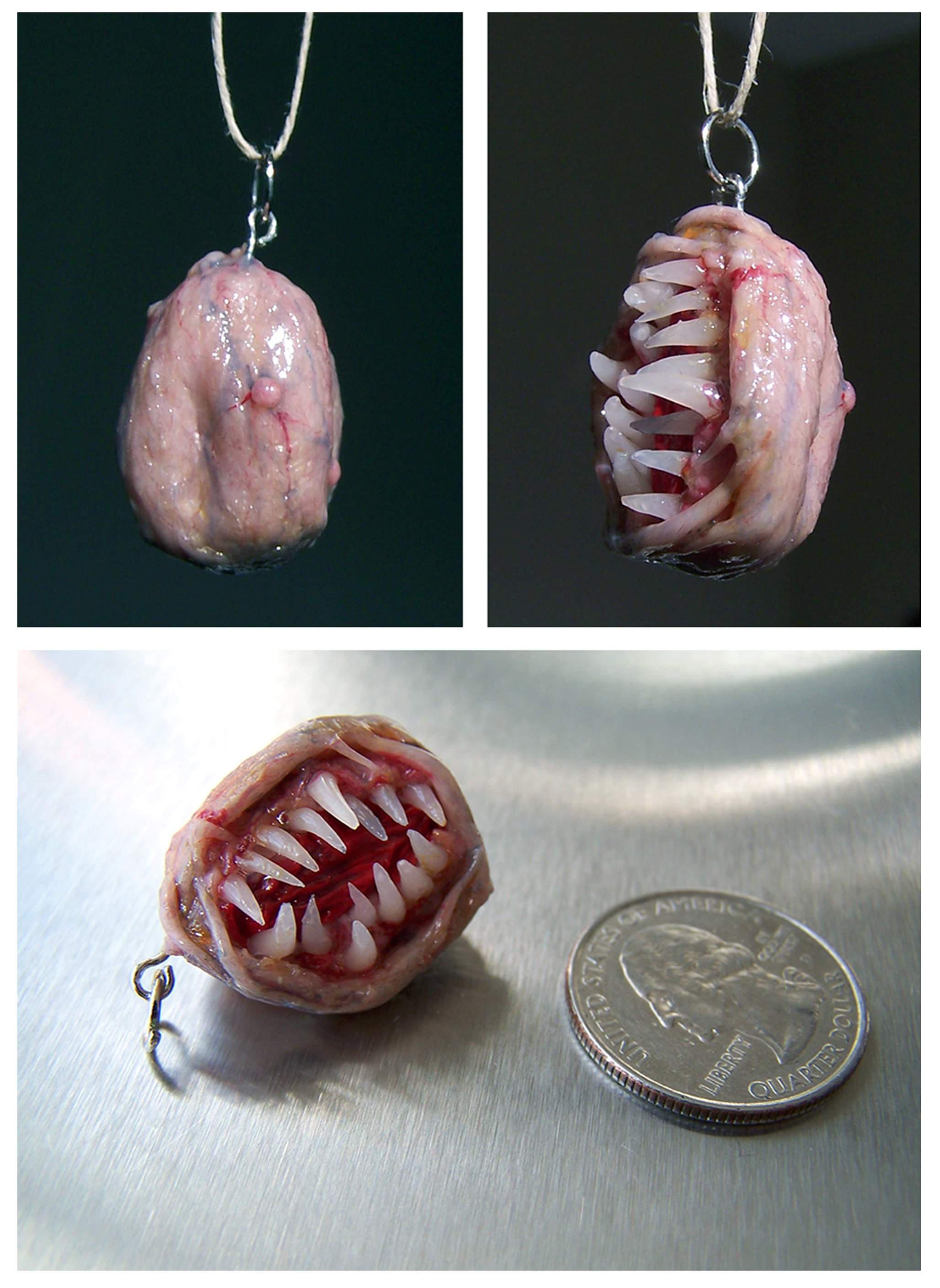 Little weird fleshball pendant from outerspace by MorgansMutations