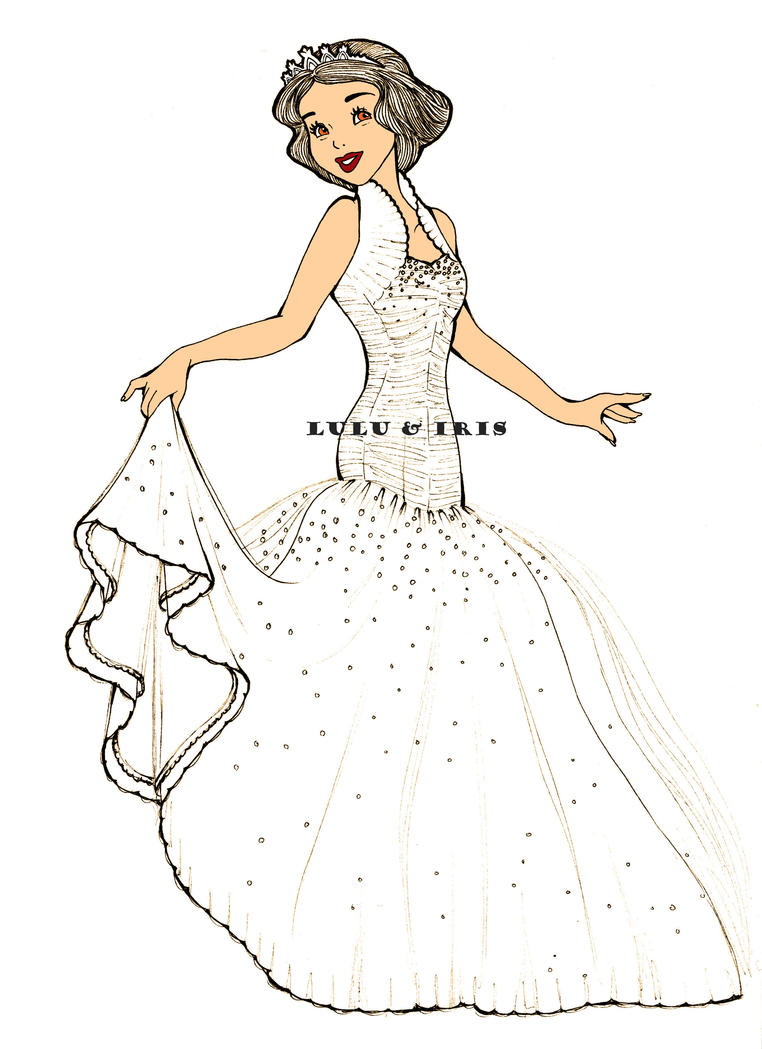 Disney Princess Wedding Dresses Snow White By Lulu Ibeh On Deviantart How To Draw A Disney Princess Dress Free Coloring Sheets