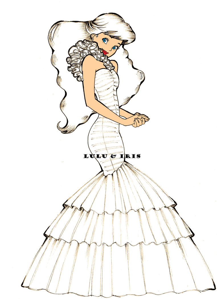 Disney Princess Wedding Dresses Ariel By Lulu Ibeh On Deviantart How To Draw A Disney Princess Dress Free Coloring Sheets