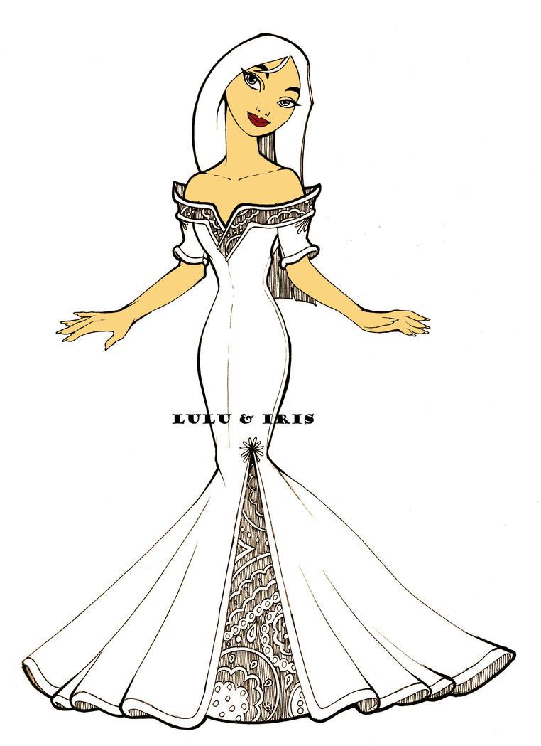 Disney Princess Wedding Dresses Mulan By Lulu Ibeh On Deviantart How To Draw A Disney Princess Dress Free Coloring Sheets