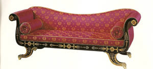 Red antique couch
