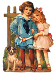Victorian boy and girl clipart
