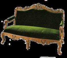 Green velvet loveseat by jinifur