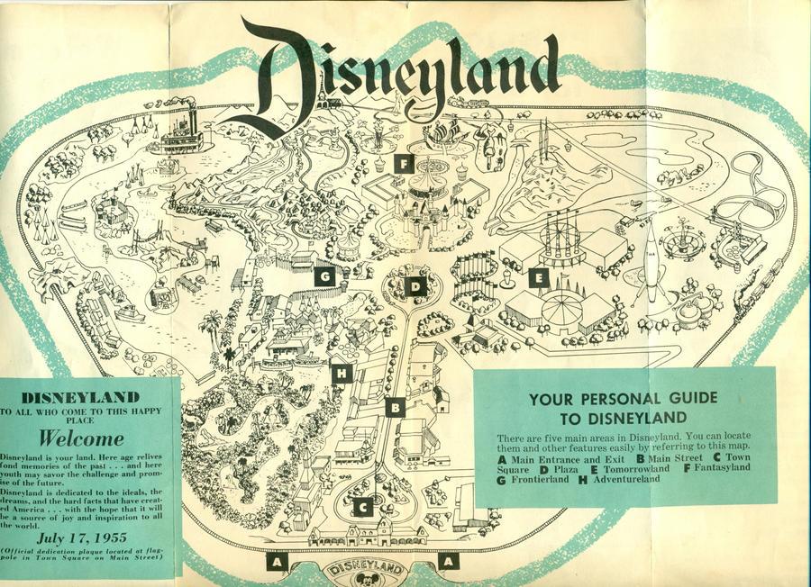 Disneyland 1955 Map Disneyland 1955 map of...