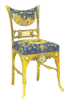 Blue and gold antique chair