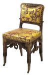 Gold and maroon antique chair