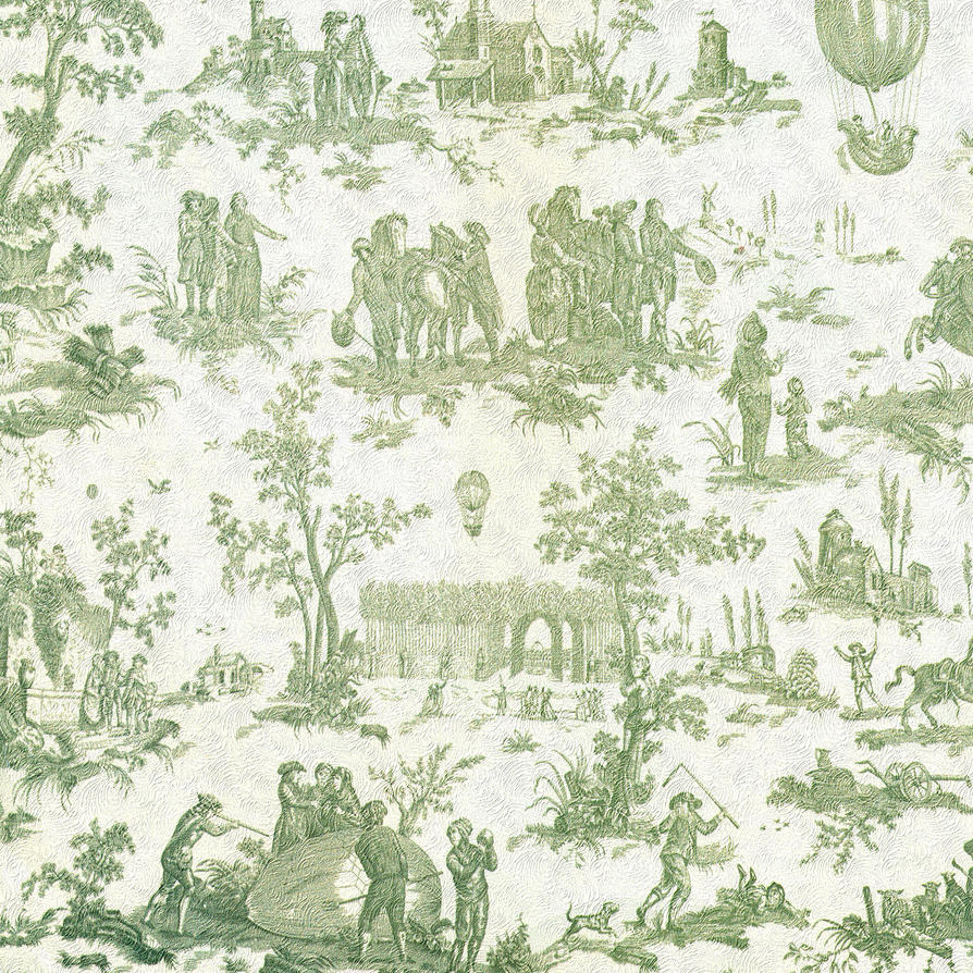 French Country Toile Kitchen Curtains