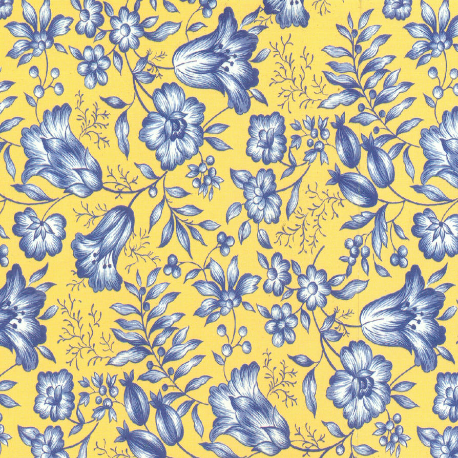 Yellow With Blue Flowers Scrap By Jinifur On Deviantart