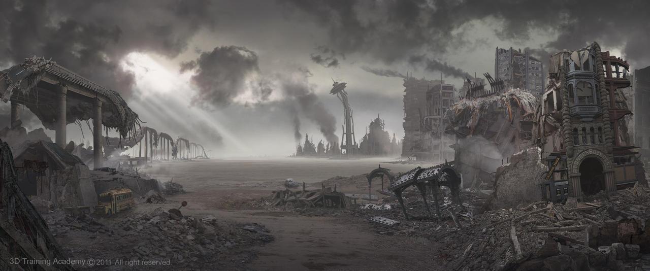 Seattle Post Apocalypse: Matte Painting Art by ZOOLAX