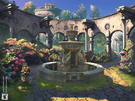 FOUNTAIN OF SECRETS: GAME ART MATTE PAINTING