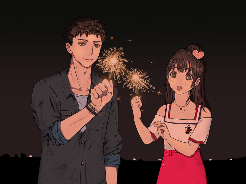 sparklers (art from drawing contest ^^) by pilugoaway