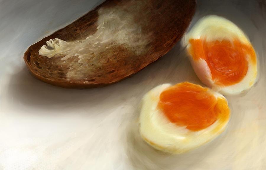 happy melting butter on hot toast by kresbicky