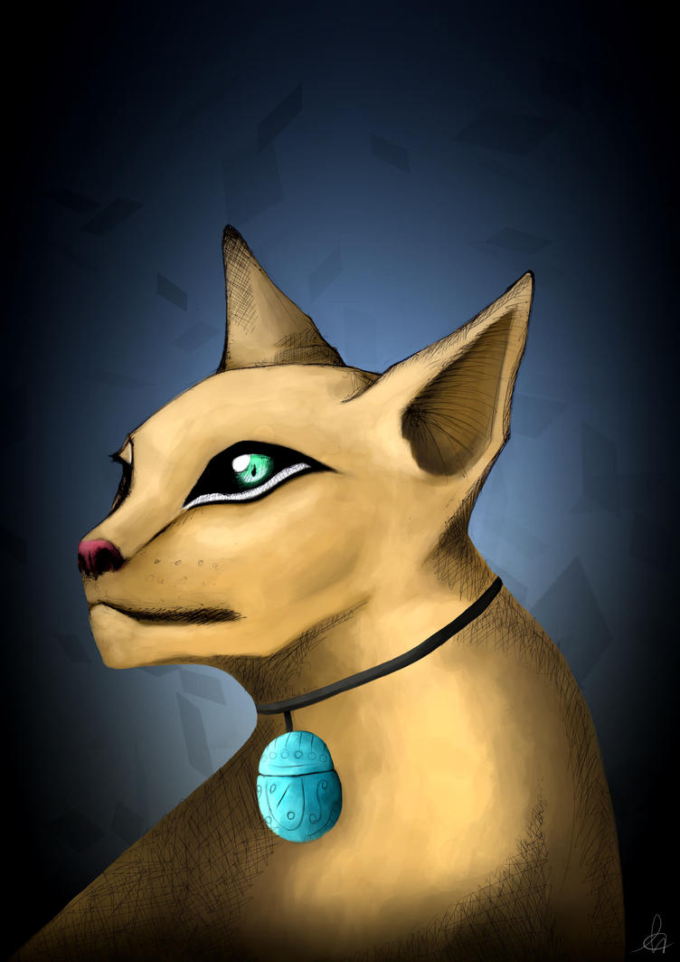 College Finals - Egyptian Cat by shadowBlazeLOVER