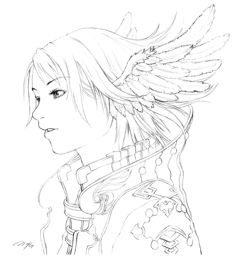 Coloring Lineart : Aki lineart by minties on deviantart