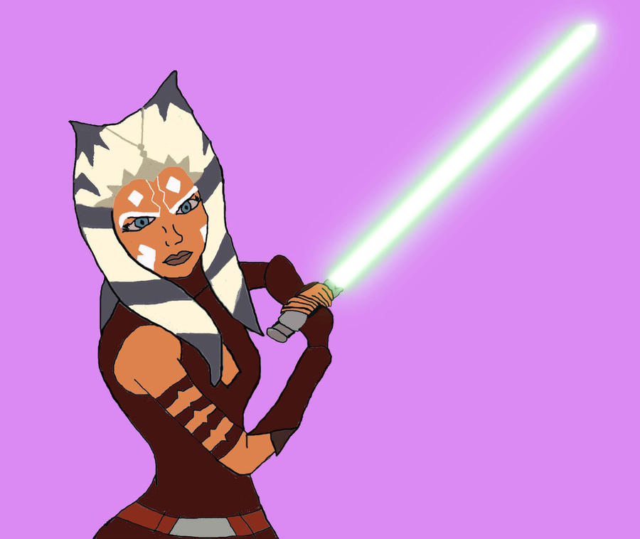 Ahsoka Tano with lightsaber by piper-jean on DeviantArt: piper-jean.deviantart.com/art/ahsoka-tano-with-lightsaber-194659103