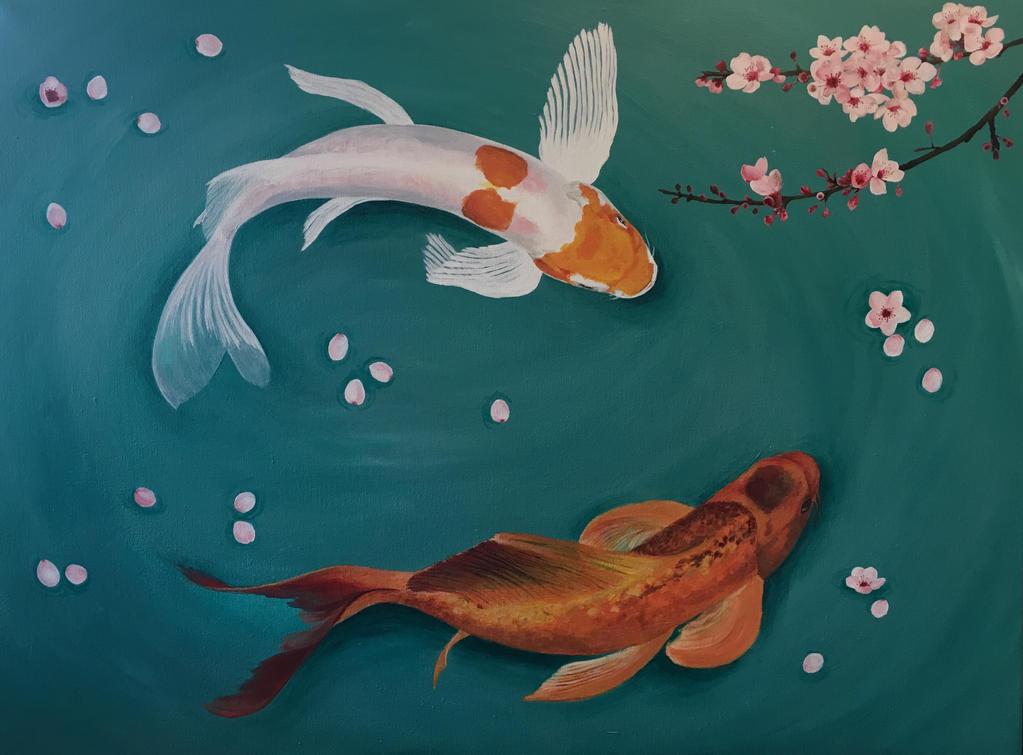 Koi and cherryblossom, Acrylic painting 80 x 60 Cm by Camilla94