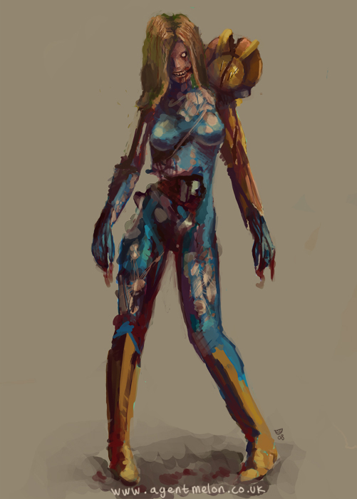 Funny Peach Zombie Samus by agents...