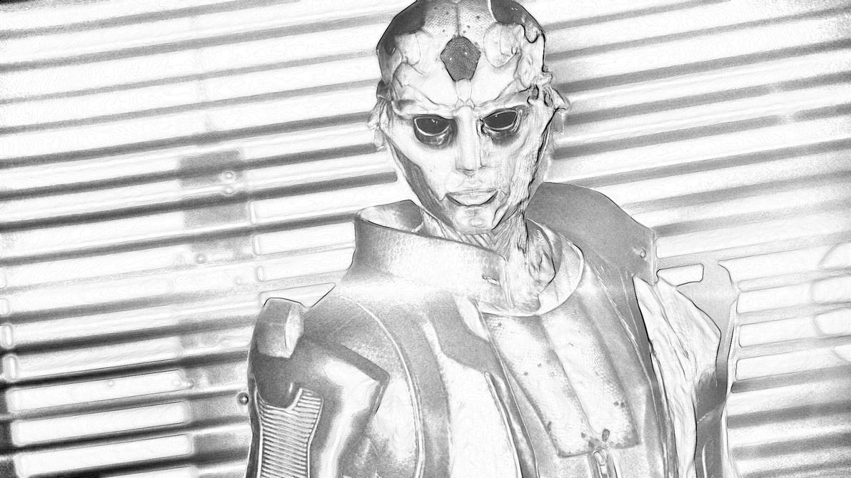 Thane from mass effect pencil drawing by beefcakepantyhose