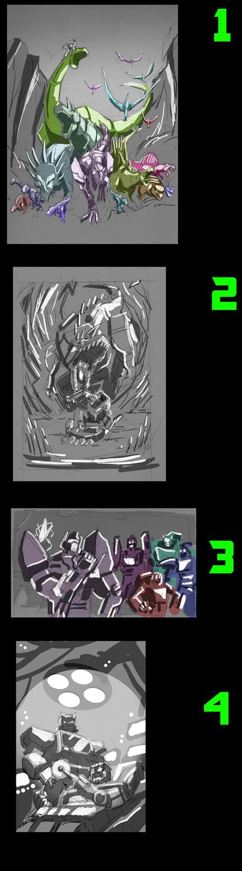 Dungeons and Dinobots Roughs by FunPubComics