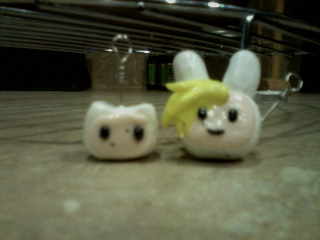Finn and Fionna Polymer clay charms by Kittyuke