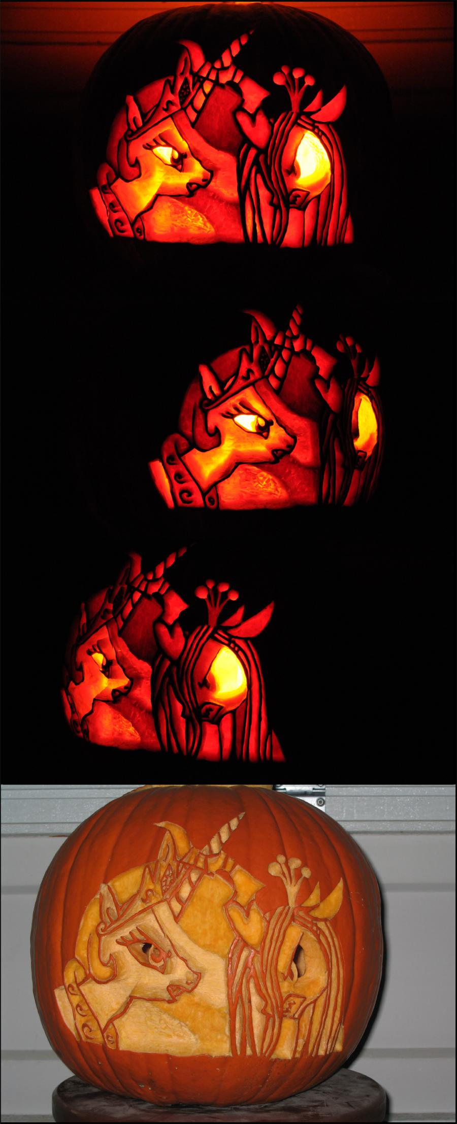 celestia_vs__chrysalis_pumpkin_by_archiveit1-d5j2h4c.png