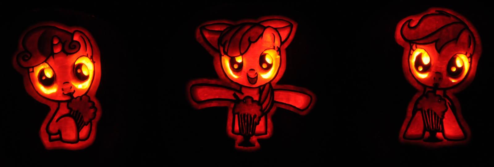 Cutie Mark Crusaders Pumpkins by archiveit1