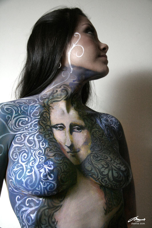 mona lisa body painting by faithfulartist