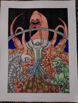 Chief, Arbiter, and the Gravemind.