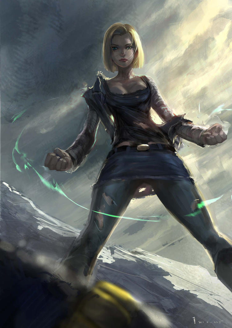 Android 18- battle by ivangod