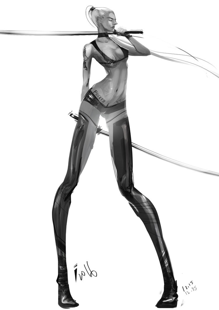 Twin Blades babe by ivangod