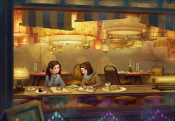 Sepia-colored cafe