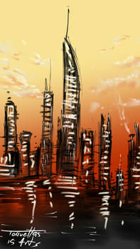 City scape at sunset by Torruellas arts