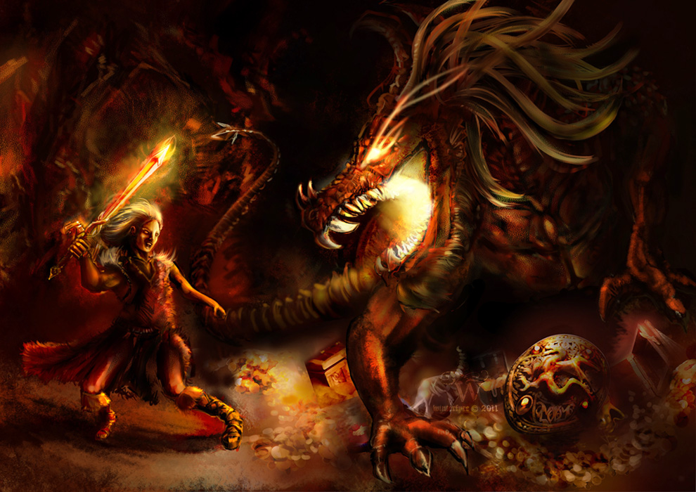 greed in the story of beowulf Beowulf strikes the dragon's head with his sword, driving it in to the bone, but the sword, naegling, breaks and the dragon bites beowulf in the neck as beowulf staggers, wiglaf stabs the dragon in the stomach, and gets his hand burned in the process.