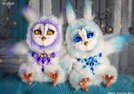 Blue and Purple Owls together