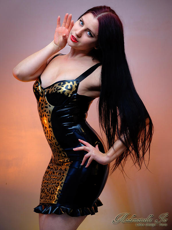 Mademoiselle Ilo - Leopard latex dress - Model Ant by Mademoiselle-Ilo