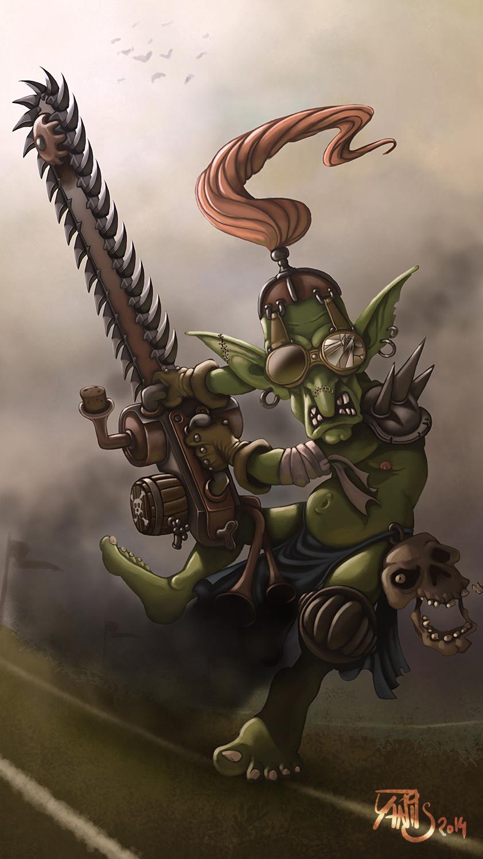Digital painting de Traaw : Digit en vrac Bloodbowl_chainsaw_goblin_by_traaw-d7nxgut