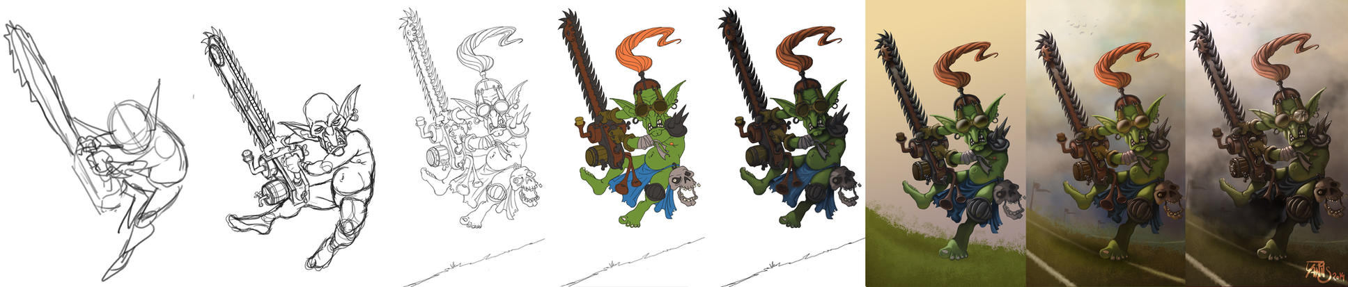 -step by step-Bloodbowl chainsaw goblin by Traaw