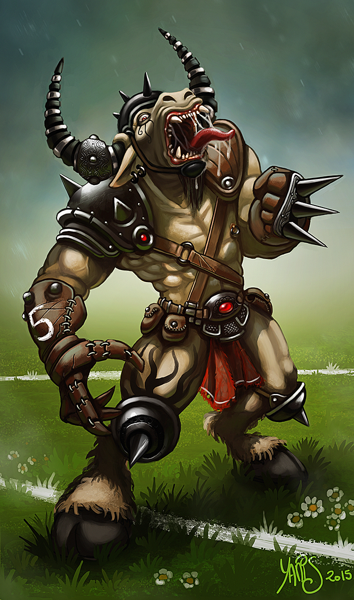Digital painting de Traaw : Digit en vrac - Page 3 Bloodbowl_minotaure_by_traaw-d8ho857
