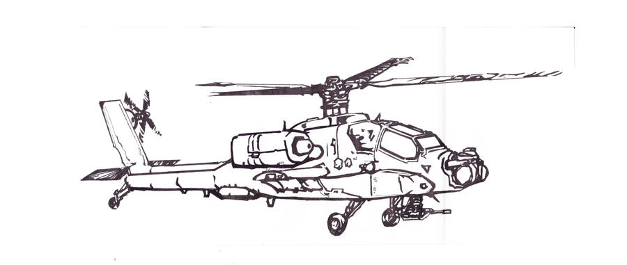 Apache Helicopter Profile View Fill By Muerphy On Deviantart