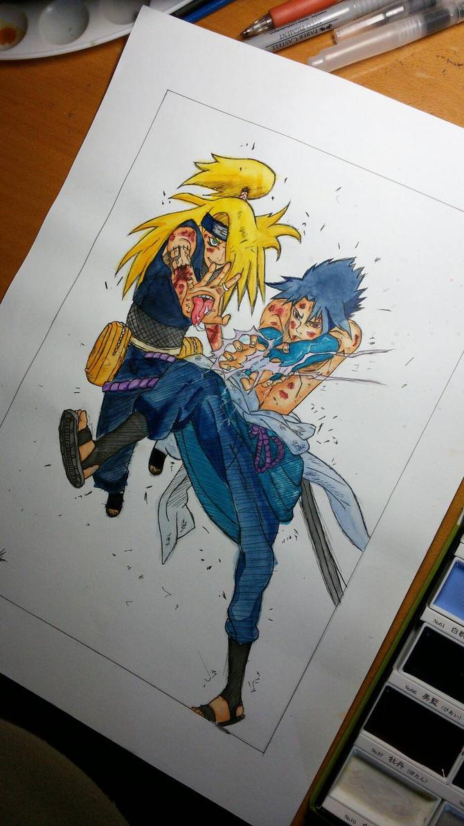 Sasuke VS Deidara by rafaT007