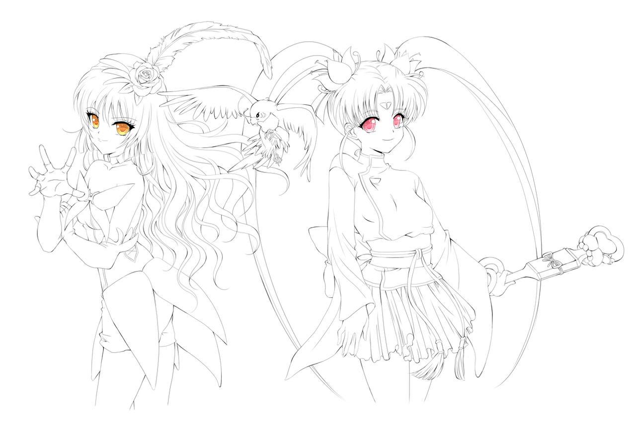 Anime Girl Lineart : Commission magical girl pretty sammy by rurutia on deviantart