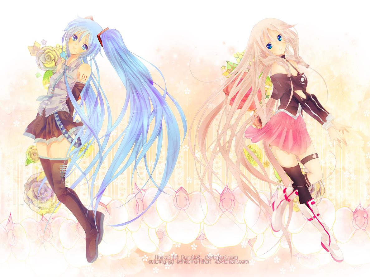 Collaboration: Miku and Ia by Rurutia8