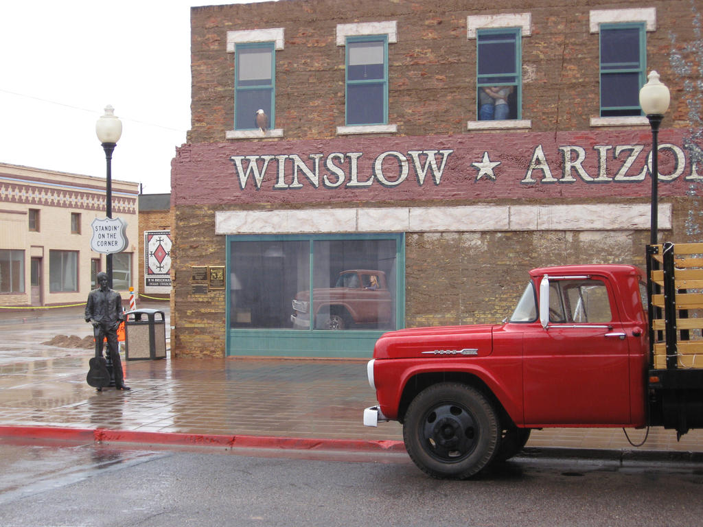 standing on the corner winslow arizona by irational xpressions on deviantart. Black Bedroom Furniture Sets. Home Design Ideas