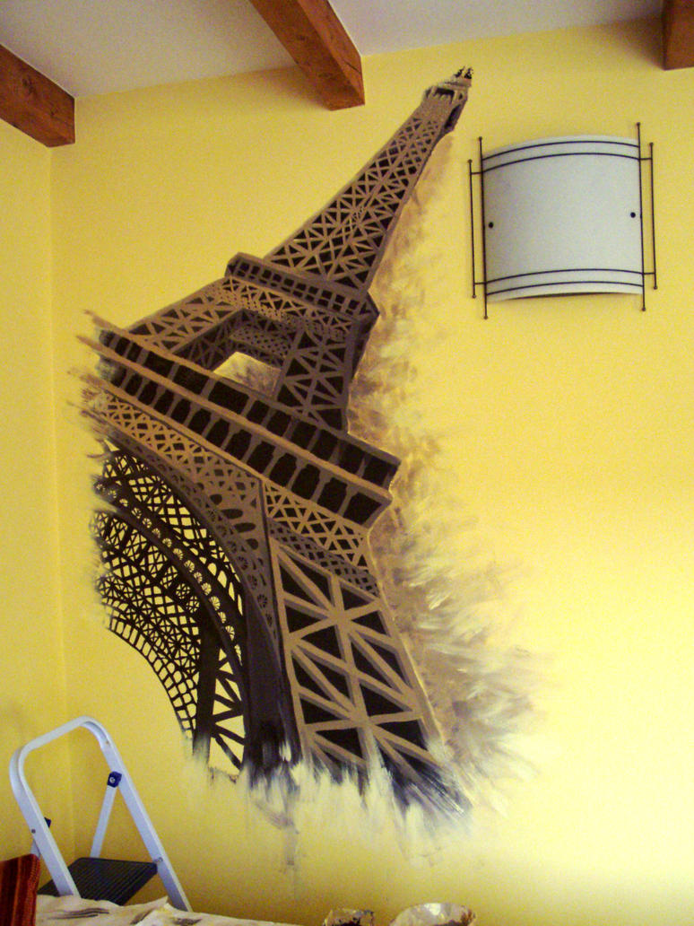 Eiffel tower wallpainting by ravenoo on DeviantArt