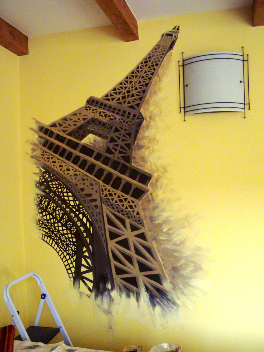 Eiffel tower wallpainting by ravenoo on DeviantArt