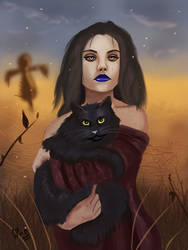 The witch and her cat by IcedEdge